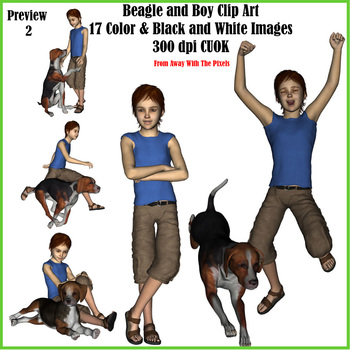 Realistic Boy and Beagle Clip Art From Away With The Pixels
