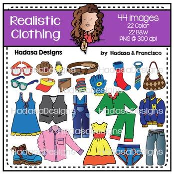 Realistic Clothing Clip Art Set