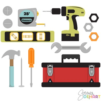 Clipart - Tools and Tool Box Set