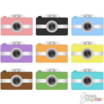 Realistic Digital Camera Clip Art Set