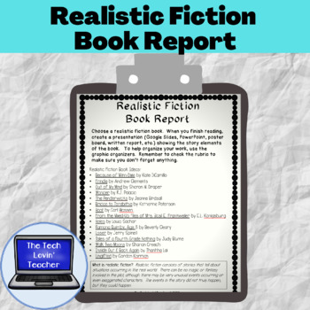 Realistic Fiction Book Report
