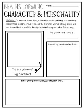 Realistic Fiction Brainstorming Graphic Organizers