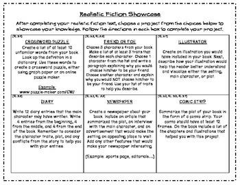 Realistic Fiction Choice Board Showcase - Common Core Aligned