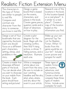 Realistic Fiction Genre Extension Menu, 9 Activities for A