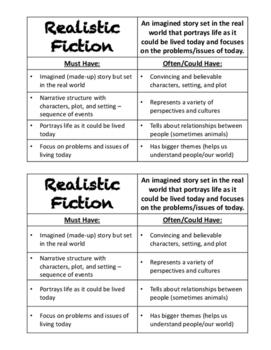 Realistic Fiction Genre Notes