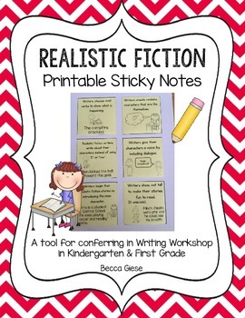 Realistic Fiction Printable Sticky Notes