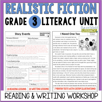 Realistic Fiction Reading & Writing Unit: Grade 3...40 Lessons with CCSS!!
