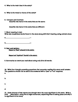 Realistic Fiction Reflection Packet