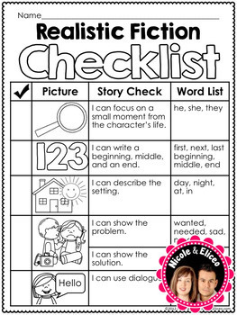 Writing Checklist - Realistic Fiction