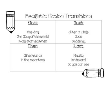 Realistic Fiction Transitions Student Sheet