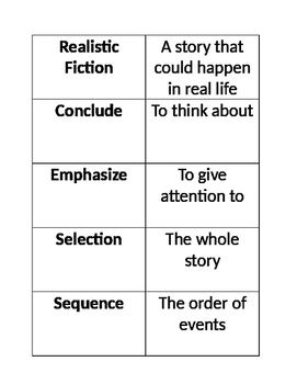 Realistic Fiction Vocabulary Cards