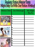 Realistic Fiction Writing Workshop Mentor Text Author Study Chart