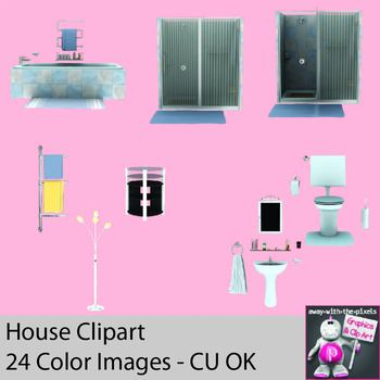 Realistic Household Appliance Clipart - Bathroom, Living Room and Kitchen