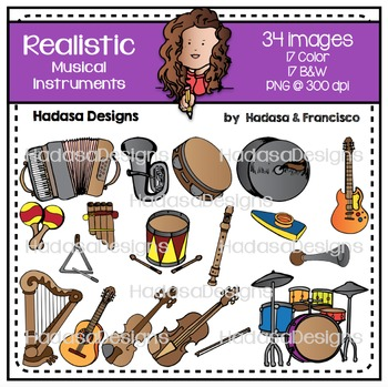 Realistic Musical Instruments Clip Art Set