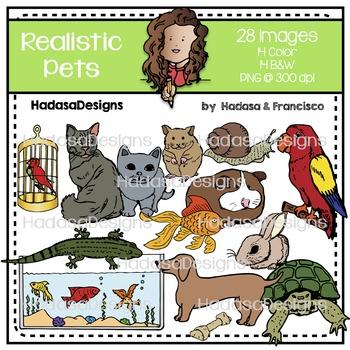 Realistic Pets Clip Art Set
