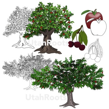 Realistic Trees Clip Art - Fruit Trees and Fruit