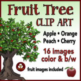 Realistic Fruit Trees Clip Art - Apples Peaches Oranges and Cherries