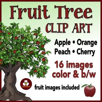 Realistic Fruit Trees Clip Art - Apples Peaches Oranges and Cherries