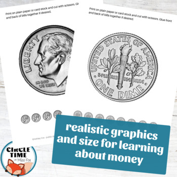 Realistic Printable Coins front and back, Printable Play Money, American Coins