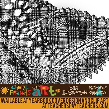 Realistic Reptiles Black and White Engraved Clip Art