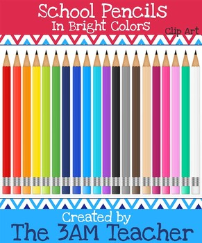 Realistic School Pencils in 20 Fun Colors - Clip Art for Commercial Use