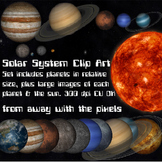 Realistic Solar System Clip Art - Planets Relative Size and Fixed Size