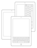 Realistic Technology Line Drawing Black and White Clip Art