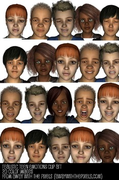 Realistic Teen Emotions Expressions Clip Art from Away With The Pixels