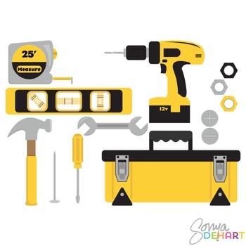 Clipart - Tools and Tool Box Set