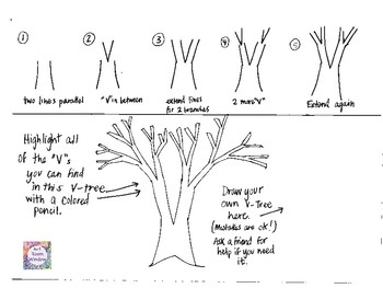 "Realistic ""V-Tree"" Tree How To Draw Worksheet and Final Project Ideas"
