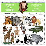 Realistic Zoo Animals Clip Art Set