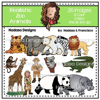Realistic Zoo Animals Clip Art Set