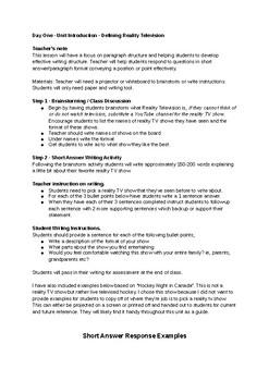 English Lesson Plan - Reality TV YouTube Unit - Week One - Grades 9/10/11/12