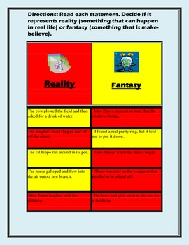 Reality and Fantasy- Literacy Work Station