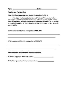 Editable Reality and Fantasy and Context Clues Pre and Post Test