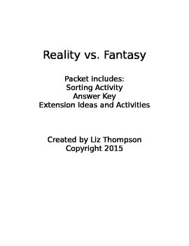 Reality vs. Fantasy Sorting Activity