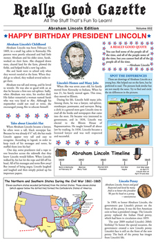 Really Good Gazette-Lincoln's Birthday