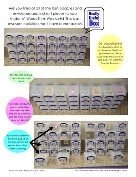 """""""Really Useful Box"""" Dinosaur Labels for Words Their Way Sort Organization"""