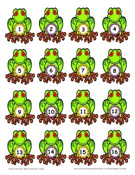"""""""Really Useful Box"""" Tree Frog Labels for Words Their Way Sort Organization"""