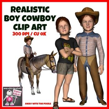 Realistic Boy Cowboy Clip Art, Includes Stampede, Lasso, Horse Riding etc
