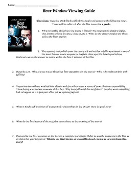 Rear Window Viewing Guide Questions