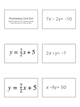 Rearranging Linear Equations