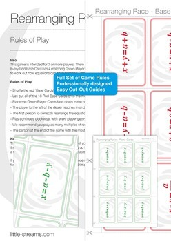 Rearranging Race | card game for the practice of rearranging equations