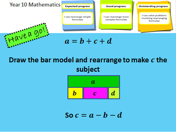 Rearranging formulae/changing the subject - Complete lesson & mastery worksheet