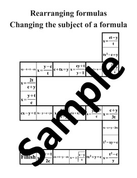 Rearranging formulas, Changing the subject of a formula – Math puzzle