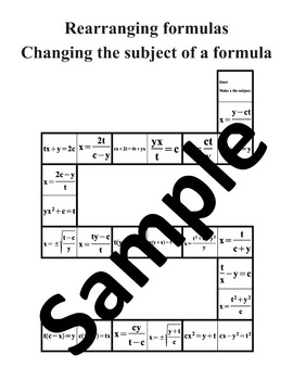 Rearranging formulas, Changing the subject of a formula –