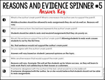 Reasons and Evidence Reading Centers | 4th and 5th Grade Reading Spinner Centers