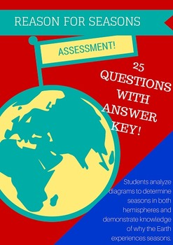 Reason for Seasons Assessment {25 questions with answer key}