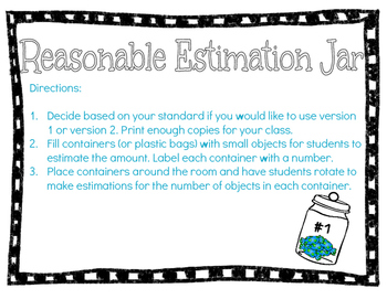Reasonable Estimation Activity