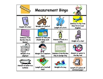 Reasonable Measurements Bingo